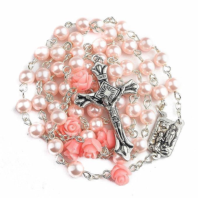 Nazareth Store Collar de Rosario de Perlas Rosadas católicas 6 Piezas Medalla de Rosa de Lourdes y Cruz NS