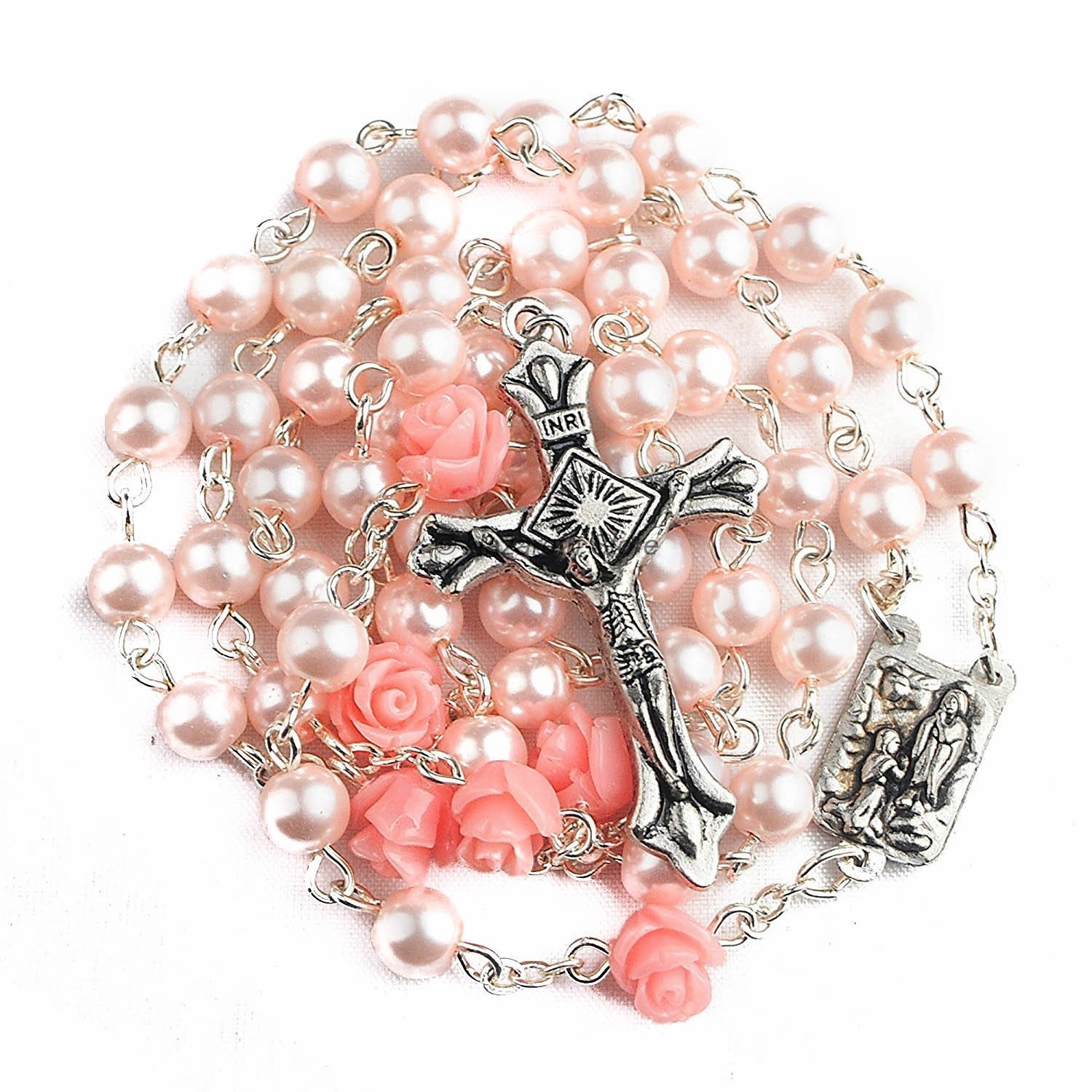 Catholic Pink Pearl Beads Rosary Necklace By Nazareth Store 6pcs Our Rose Flowers, Lourdes Medal & Cross NS