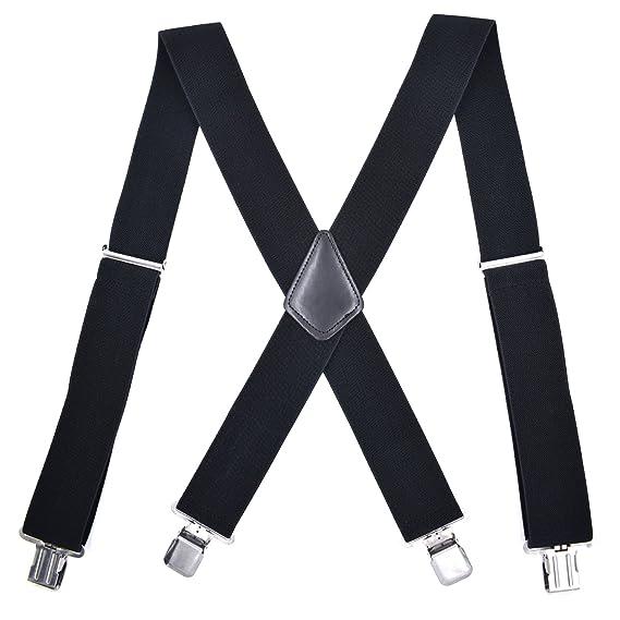 MENDENG Mens 2 Inch Braces Adjustable Elastic Suspenders Strong Clip Heavy Duty