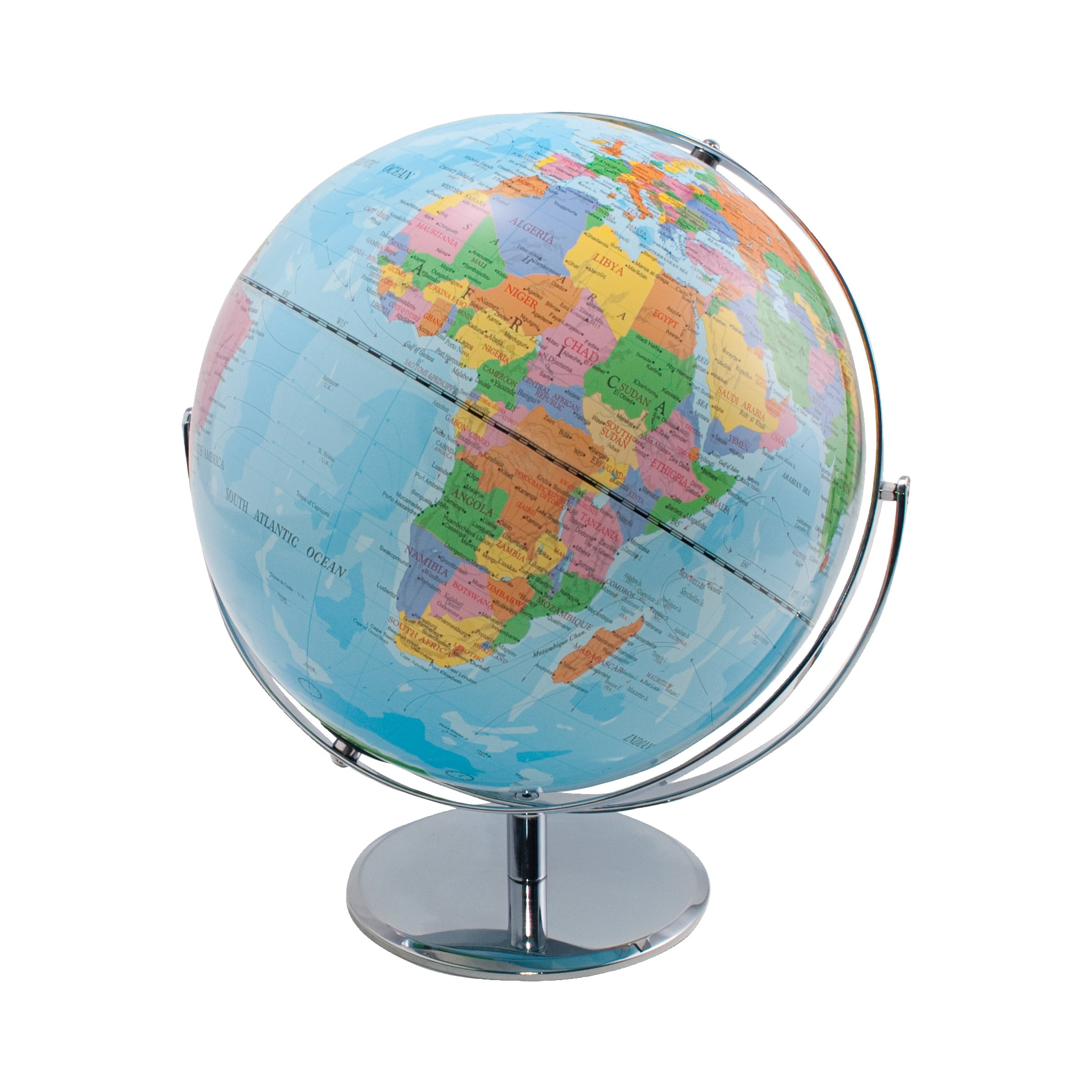 Advantus Desktop World Globe with Blue Oceans, Rotating Globe on Stand, 4-Globe Pack, 30502CT