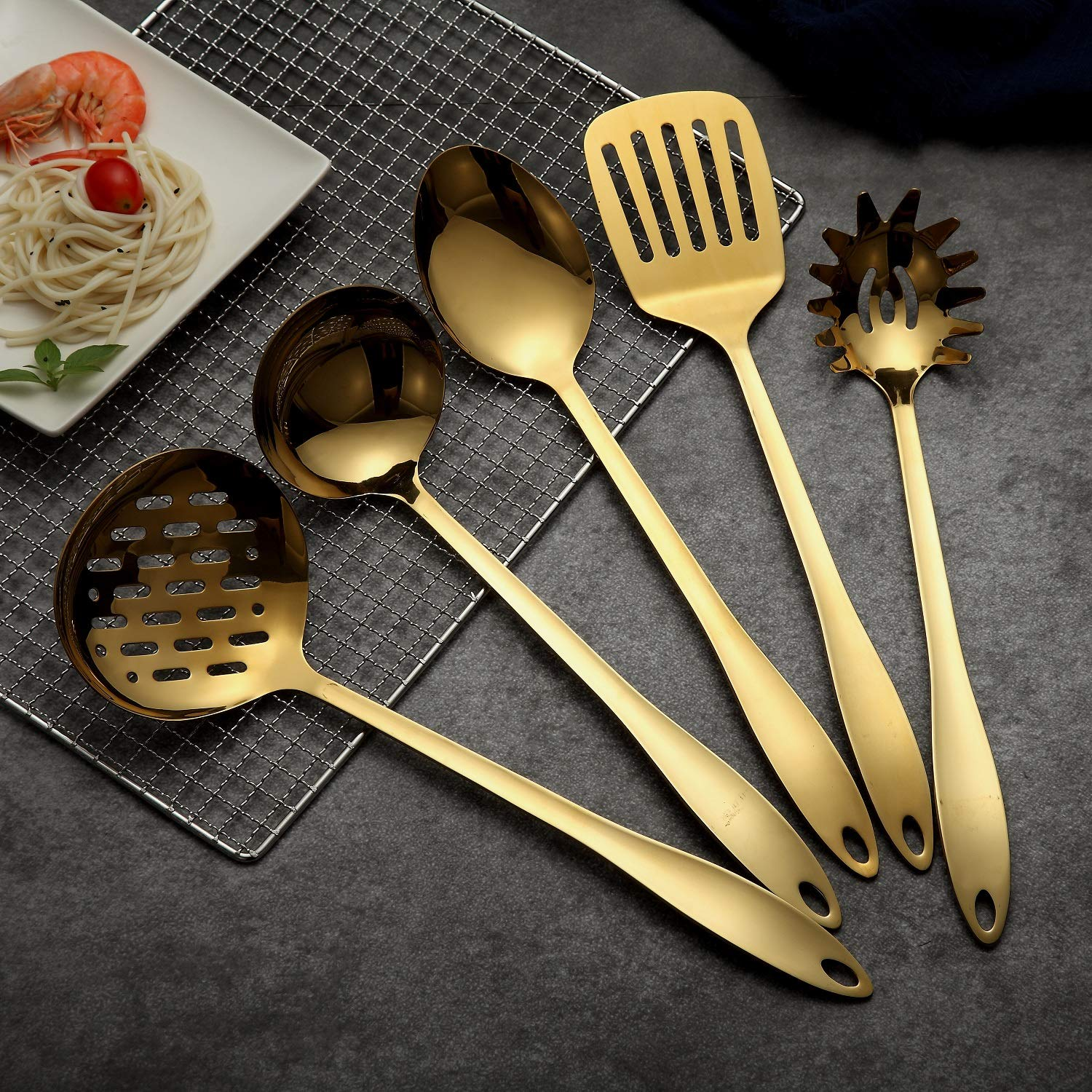 HOMQUEN Stainless Steel Kitchen Utensil Set - Gold 5 Cooking Utensils, Nonstick Kitchen Utensils Set, Include Slotted Turner, Soup Ladle, Spoon, Skimmers, Pasta Server BERGLAND KT108G-5P
