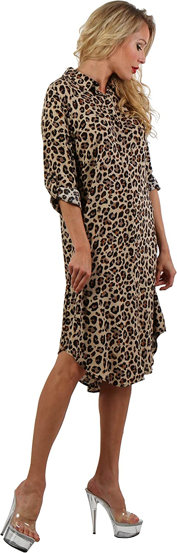 ENISE Damen Hemdkleid aus Viskose Kariertes Langarmshirt Blusenkleid Streifen Langes Hemd Freizeitkleid Hemdbluse Wadenlang Langarm V-Ausschnitt Shirt