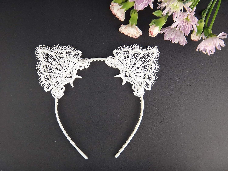 Bonnie Z Leonardo Exquisite Sweet Lace Cat Ears Headband Black-Metal-1