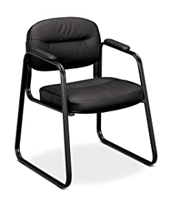 HON BSXVL653SB11 Sled Base Guest Leather Chair with Fixed Arms, Black (HVL653)