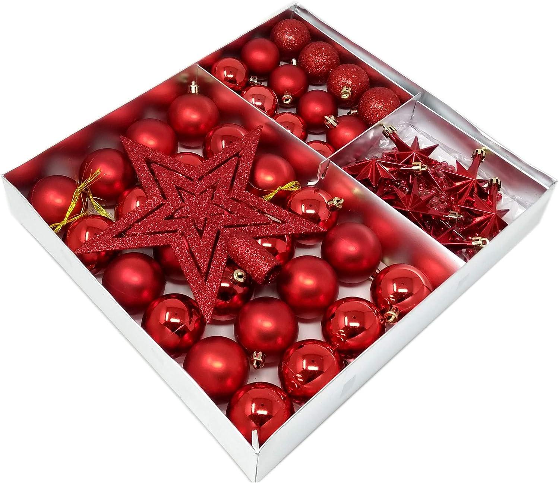ToCi–Árbol de Navidad, 45piezas con bolas Navidad punta estrellas decoración cadena de perlas | colgante | Schöner Árbol de Navidad Joyas Árbol de Navidad en gran selección de colores