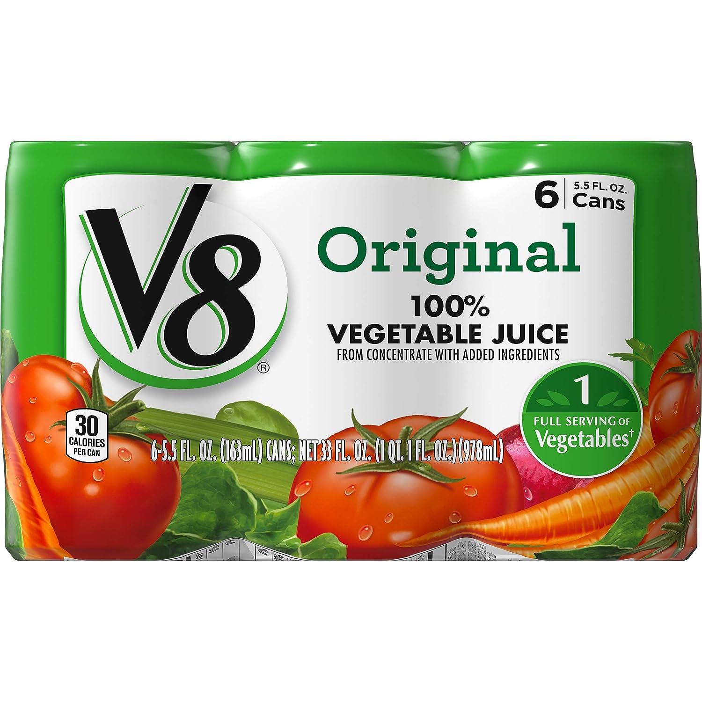 V8 Original 100% Vegetable Juice, 5.5 oz. Can (8 packs of 6, Total of 48)