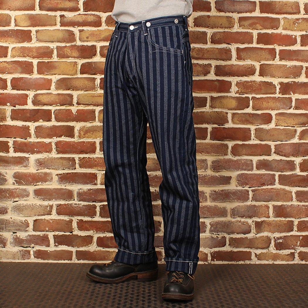 Edwardian Men's Pants, Trousers, Overalls Bronson 1900S Waist Band Mens Red Ear Stripe Straight Denim Jeans $139.99 AT vintagedancer.com