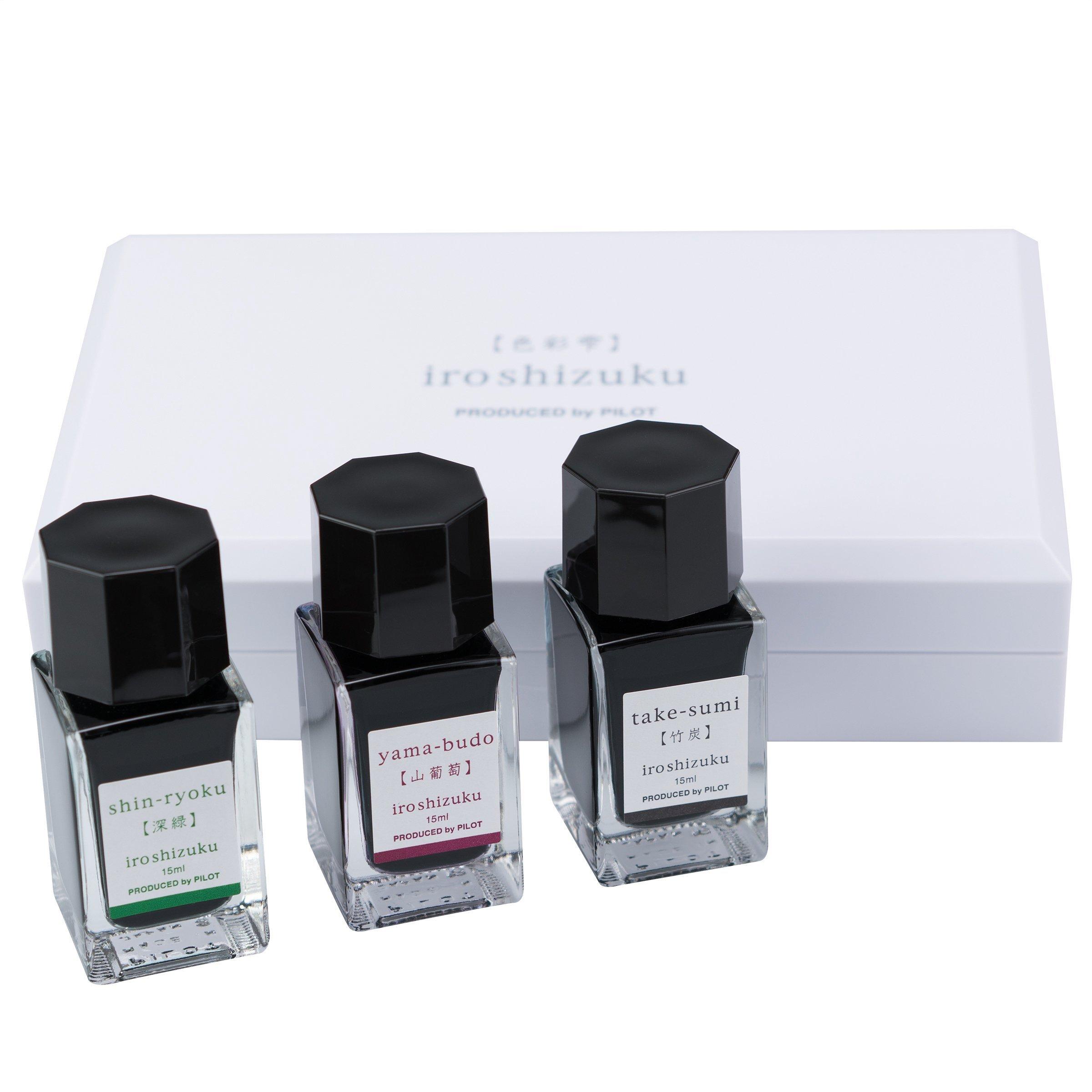 Pilot Iroshizuku Fountain Pen Ink 3 Mini Bottle Fall Set, 15 mL Each, Shin-ryoku, Yama-budo, Take-sumi (69230) by Pilot