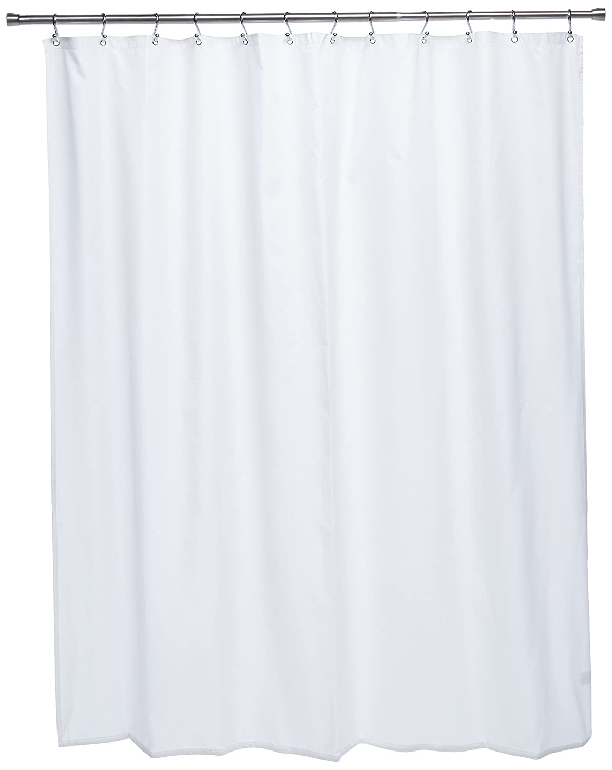 White Excell 1CE-040O0-6104//100 Ex-Cell Pierce Fabric Microfiber Shower Curtain Liner 70 by 72-Inch