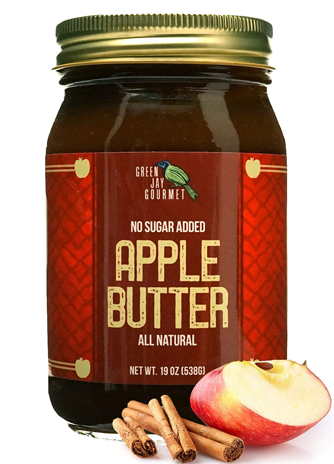 Green Jay Gourmet Low Sugar Apple Butter - All-Natural, Gluten-Free Fruit Spread - Apple Spread with Apples, Cinnamon & Spices - Gourmet Fruit Butter - No Added Sugar or Corn Syrup - 19 Ounces
