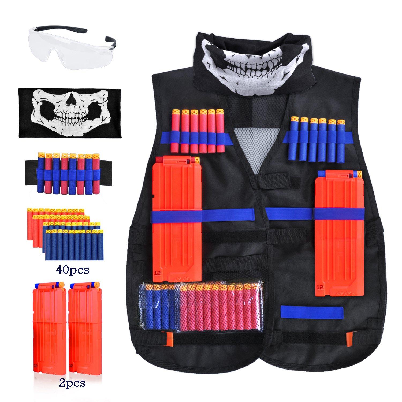 Merryxgift Taktische Weste, Taktische Weste Jacke Kit für Nerf Gun N-Streik Elite-Serie mit 40Pcs Darts Kugeln, 2Pcs 12-Dart Quick Reload Clips, 1Pcs 8-Dart Armbänded, Nahtlose Gesichtsmaske & Goggle