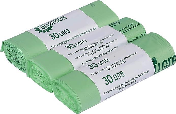 All-Green - Bolsas de Basura biodegradables y compostables (30 L ...