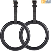 HCE Gymnastic Rings with Adjustable Straps & Metal Buckles, Non-Slip Olympic Ring Hoops Pair - Gym Rings, Strength Training, Pull-Ups, Dips or Chin-Ups Sports Fitness Exercise Workout Set of 2 Rings - Max 500kg