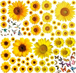 Sunflower Wall Sticker Removable Yellow Flowers Decal Waterproof 3D Floral Butterfly Wall Sticker DIY Decor for Kids Baby Bedroom Living Room Bathroom Nursery Decoration