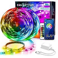 DAYBETTER Led Strip Lights 100ft (2 Rolls of 50ft) Smart Light Strips with App Control Remote, 5050 RGB Led Lights for…