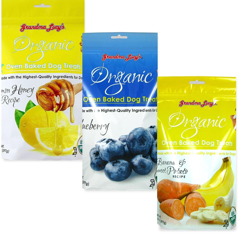 Grandma Lucy's Organic Baked Dog Treats, Mixed 3 Packs x 14 Oz - Lemon & Honey, Blueberry, Banana, Fast Free Delivery, by Just Jak's Pet Market