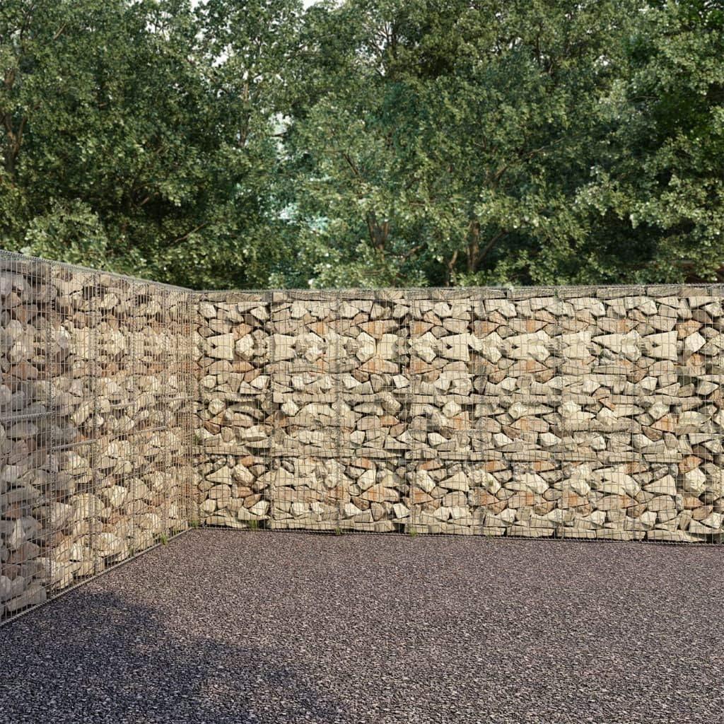 vidaXL Muro de Gaviones con Cubiertas Acero Galvanizado Terraza Exterior Jardín Terraza Cubierta Cercados Piedras Leña Almacenamiento 600x30x200 cm