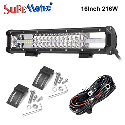 Sufemotec 16 Inch Triple Row LED Light Bar 216W For Offroad 4x4 4WD Atv Uaz Trucks Boat Jeep Suv Driving Motorcycle Light Truck LED Work Lights Auto Lamp 12V 24V Free High Power Wire Harness Kit: Automotive