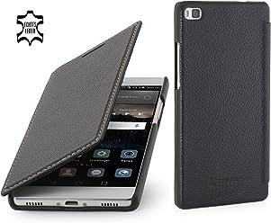 StilGut Book Type, Housse en Cuir sans Clip pour Huawei P8, en Noir
