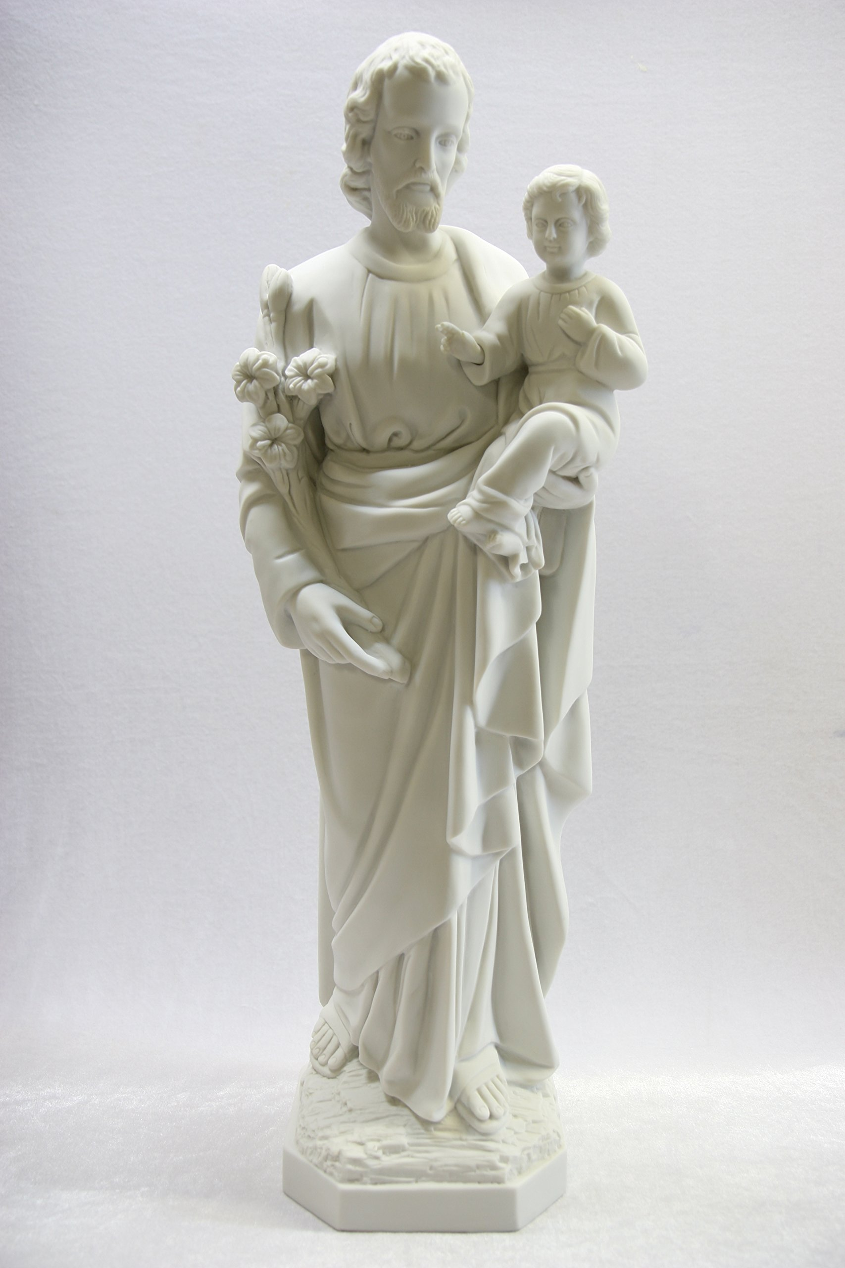 25.5'' Saint St Joseph with Holy Child Jesus Baby Catholic Religious White Statue Sculpture Vittoria Collection Made in Italy
