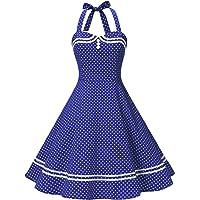 Find Dress Women 50s Vintage Short Halter Cocktail Dress with Buttons
