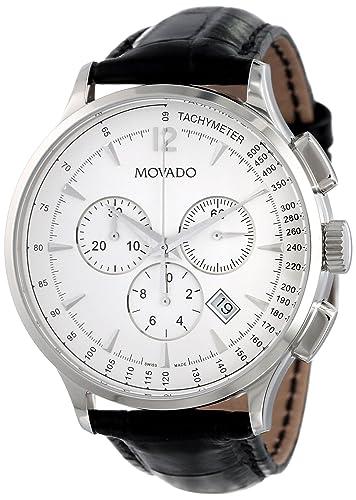 Movado 606575 - Reloj de pulsera hombre, piel, color negro: Amazon.es: Relojes