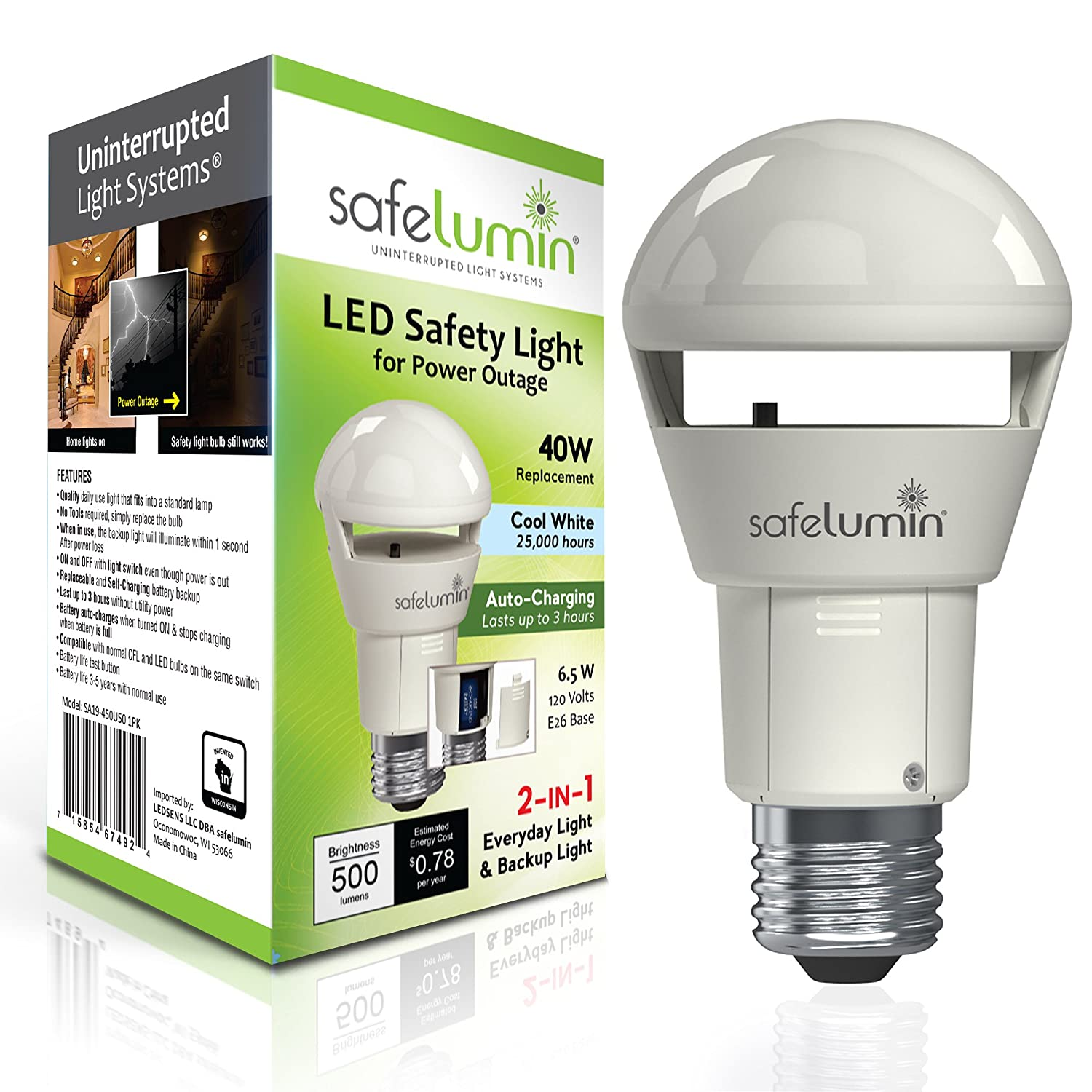 purchase cheap 5ed55 fc503 safelumin Rechargeable Light Bulbs 5000K Cool White - Emergency Lights for  Home Power Failure – Works as Normal LED Bulbs & 3Hrs Battery Backup, UL ...