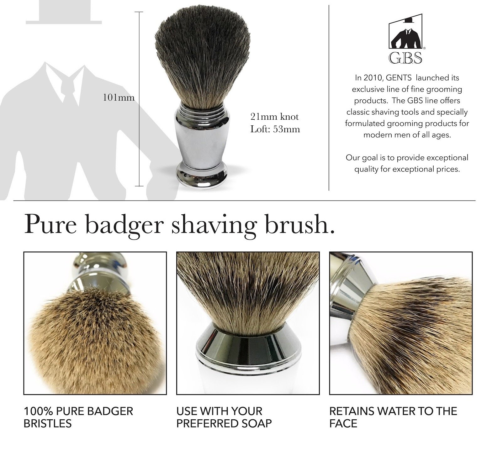 GBS Men's premium Wet Grooming Shaving Set - Gift Boxed - Heavy Duty Traditional Handle Double Edge Safety Razor, Pure Badger Bristle Brush & Razor Stand, Bowl with Soap + Free Blades included!