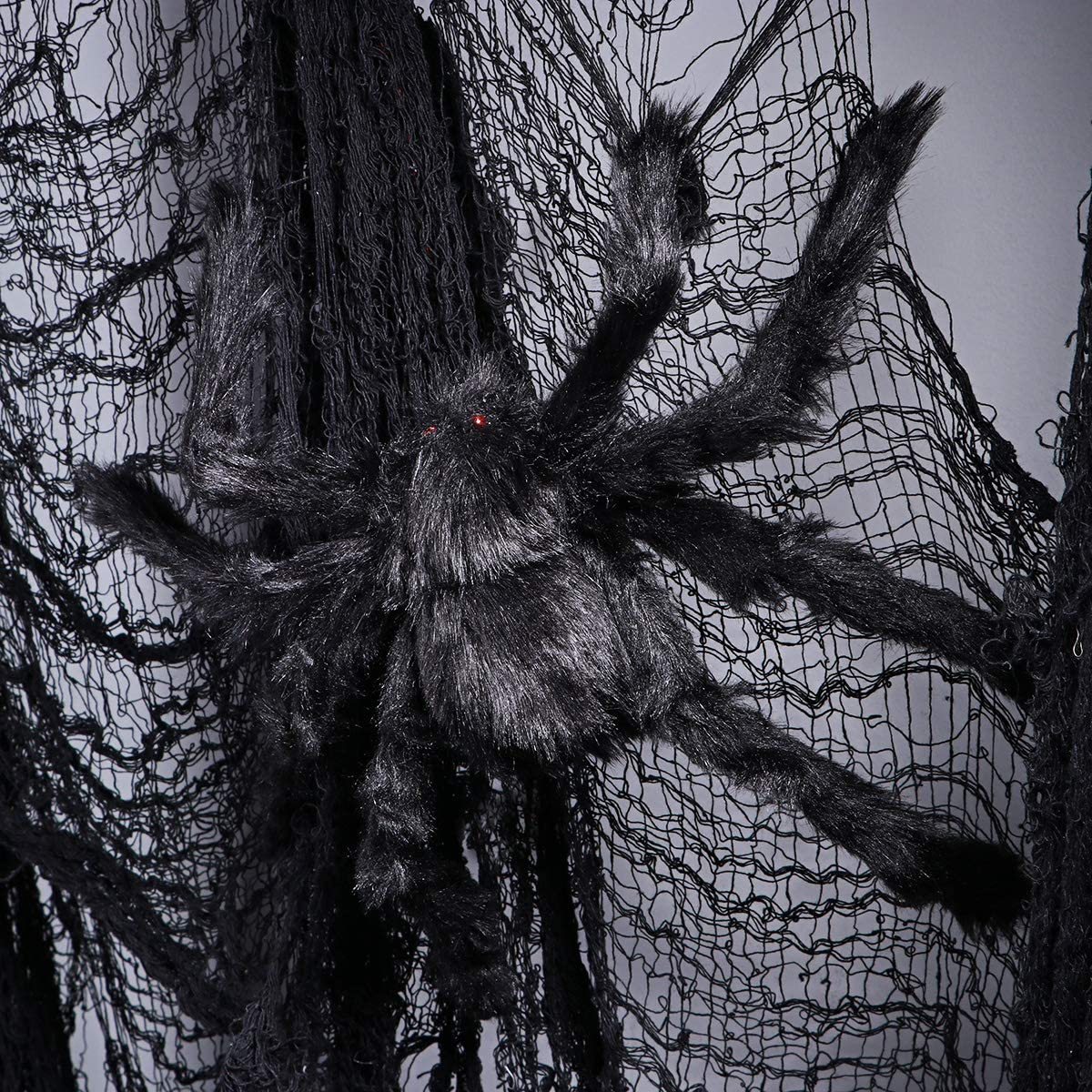 Black Large Spider Plush Toy Realistic Hairy Spider Halloween Party Scary Decoration 50CM