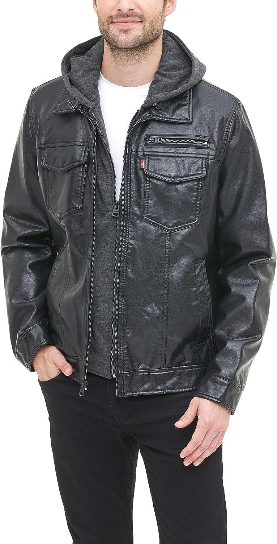 Levi's - Sudadera con capucha para hombre de piel sintética con forro de sherpa (tallas estándar y grande y alta)