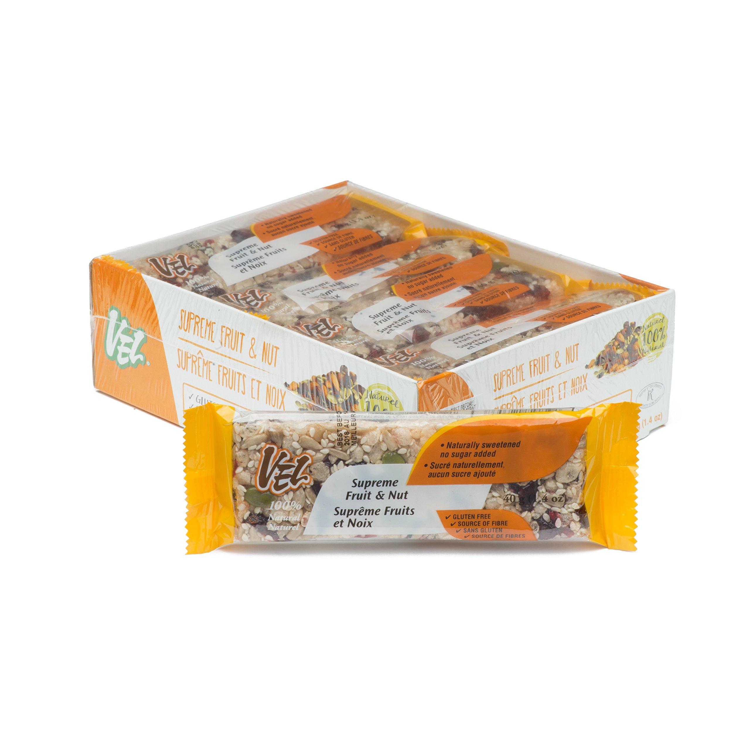 VEL Bars Supreme Fruit and Nut Bar, 12 Pack, 40 Gram/1.4 Ounce, No Gluten, No Soy, No Dairy, Source Of Fiber, Kosher