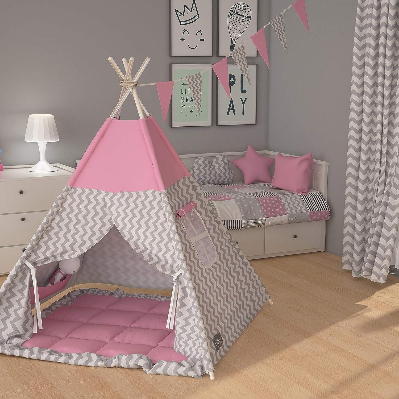 Elfique New Idianerzelt Spielzelt Kinderzelt Tipi doppelt gepolsterter Decke grau rosa