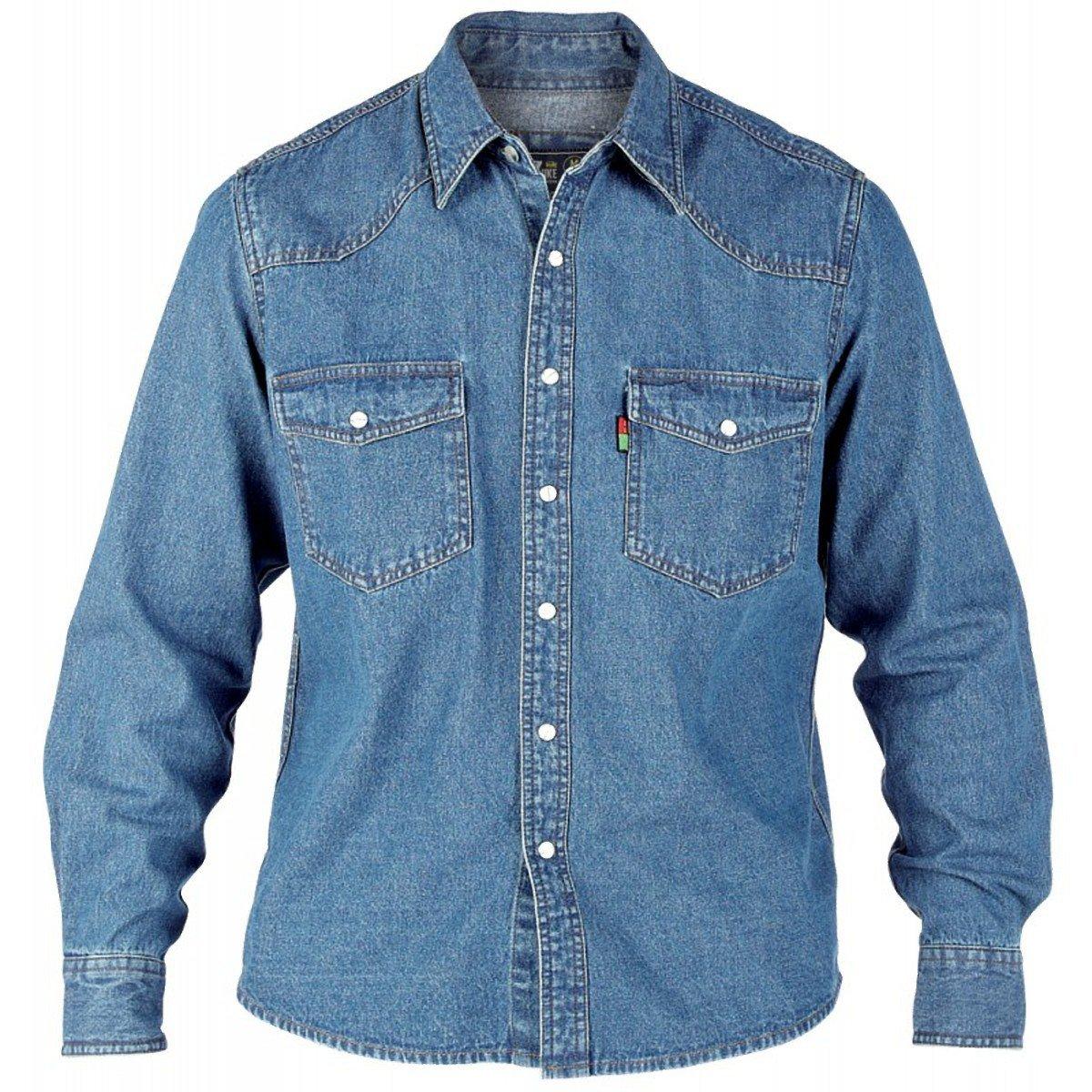 Duke Quality New Mens Blue Denim Shirt Long Sleeve Casual Classic Western Black
