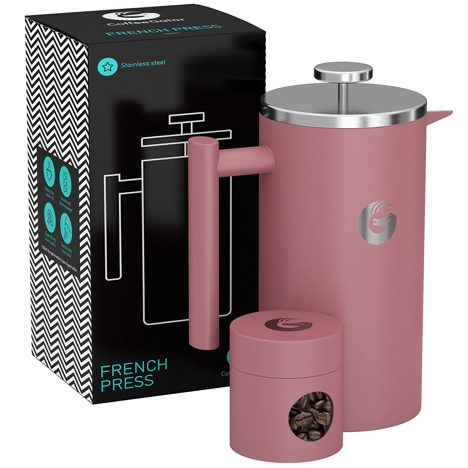 Large French Press Coffee Maker – Vacuum Insulated Stainless Steel With Double Filter, Travel Canister and eBook – By Coffee Gator, 34floz, Pink