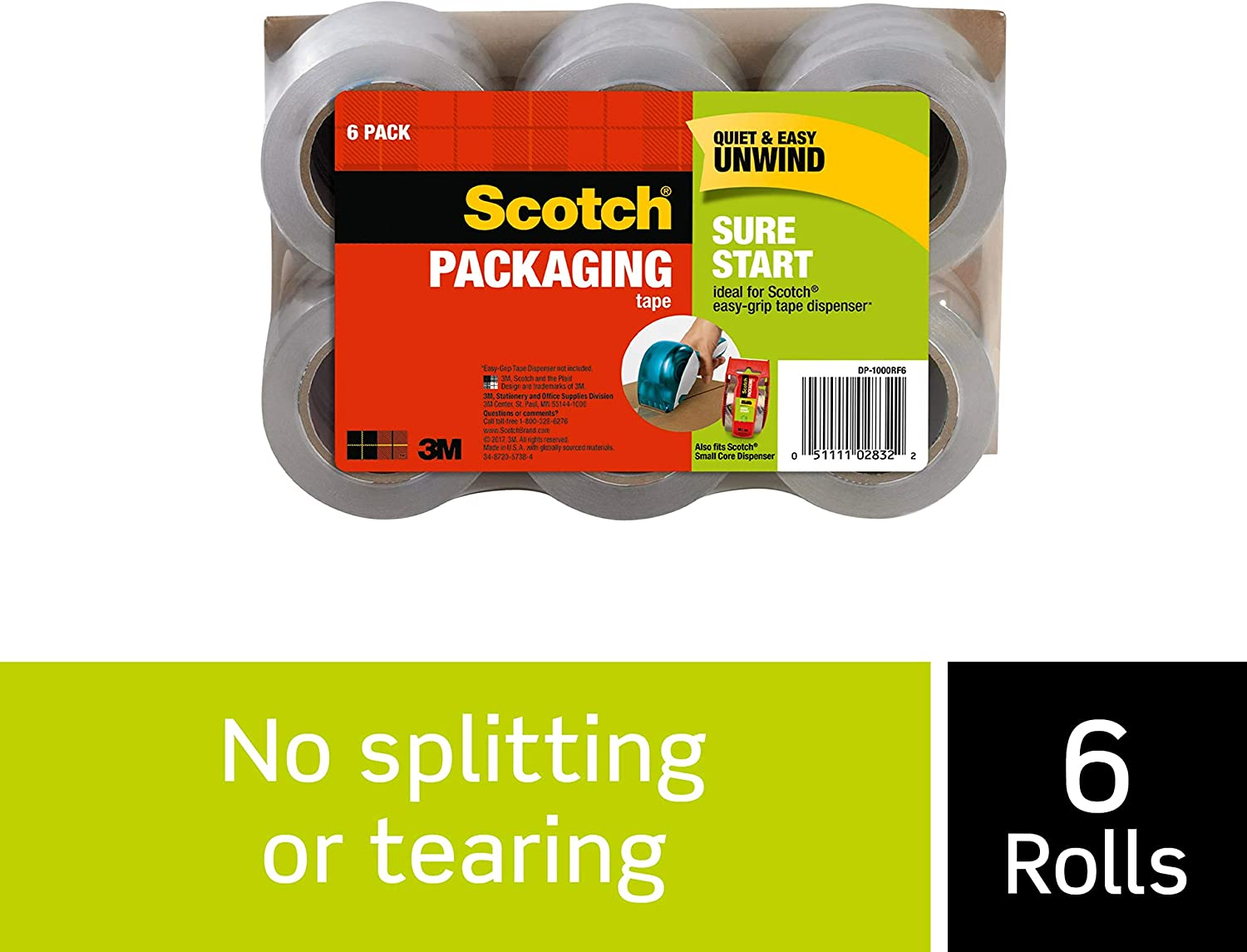 6-Rolls 1.88 Inches x 900 Inches DP-1000RF6 1.5 Core Scotch Sure Start Packaging Tape Refill Rolls