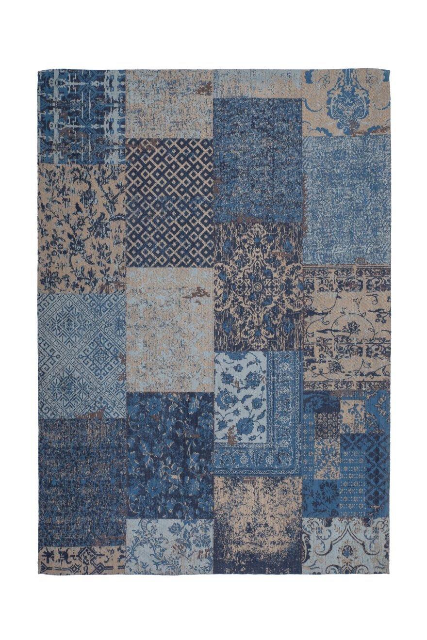 Teppich Wohnzimmer Carpet Patschwork Design Symphony 160 Rug Muster Baumwolle 200x290 cm Blau/Teppiche günstig online kaufen