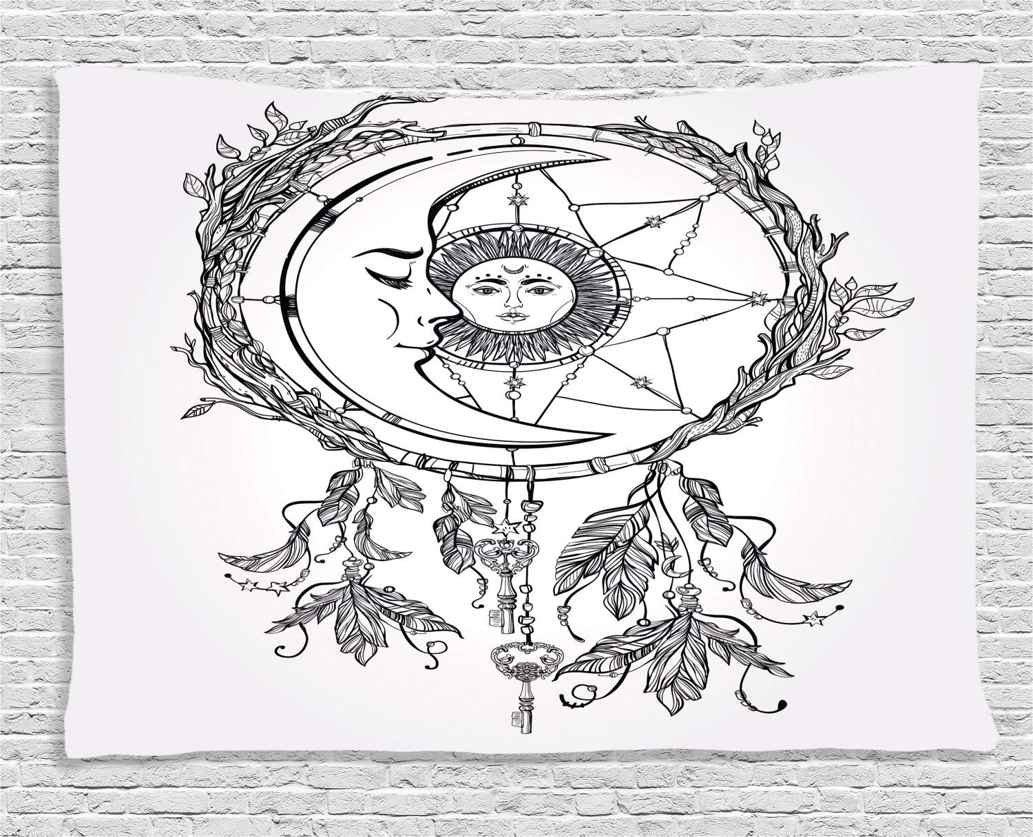Ambesonne Tribal Tapestry Wall Hanging 80 W X 60 L Inches Bedroom Living Room Dorm Decor Black White Tribal Ethnic Dreamcatcher Feathers with Sun and Moon Inside Cosmos Artsy Image