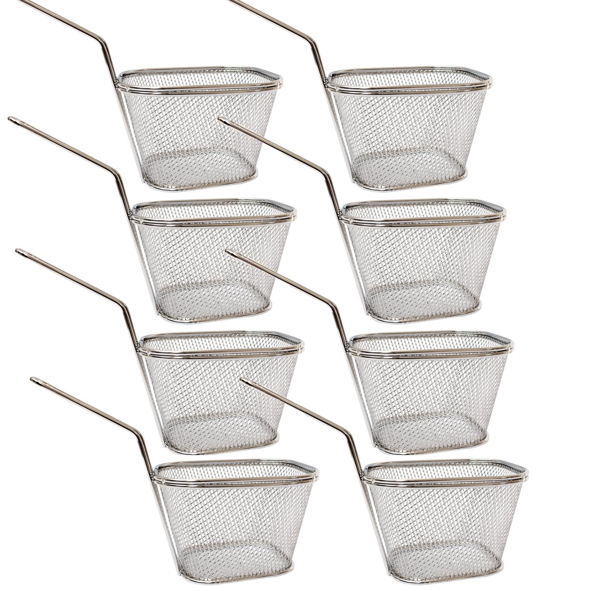 8pcs Stainless Steel Mini Fry Baskets and Cones, 10X8X7cm, Silver .Stainless Steel Fry Basket Present Fried Food, Table Serving