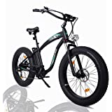 "ECOTRIC Powerful Fat Tire Electric Bicycle 26"" Aluminium Frame Suspension Fork Beach Snow Ebike Electric Mountain…"