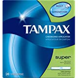 Tampax Cardboard Tampons, Super Absorbency, Unscented, 20 Count (Pack of 4)