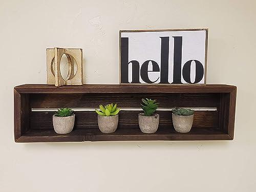 Reclaimed Wood Shadow Box Shelf with Wood Backing – Dark Brown, Rectangle
