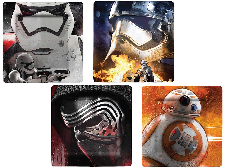 Star Wars Durable Melamine Plate Set (BB-8, Stormtrooper, Kylo Ren) Set of 4 SW03072-E13-X