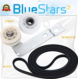 Ultra Durable 661570 & 279640 & W10837240 Dryer Belt and Pulley Kit Replacement Part by Blue Stars – Exact Fit For Whirlpool & Kenmore Dryers - Replaces 661570V 661570VP AP3094197 PS11726337