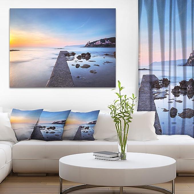 Designart Castiglioncello Bay Concrete Pier Seascape Photo Round Wall Art Disc Of 23 Inch 23 H