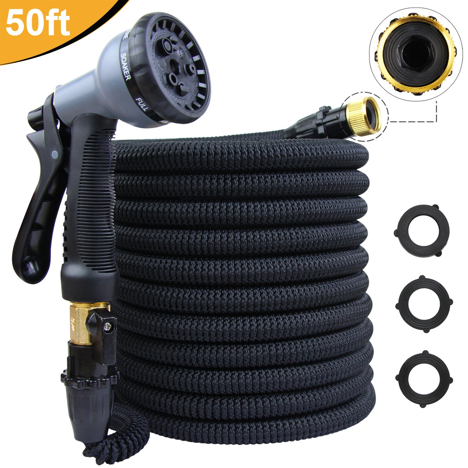 KYC 50ft Garden Expandable Water Hose Triple Latex Core 3/4'' Solid Brass Fittings Extra Strength Fabric Flexible with Metal 8 Function Spray Nozzle Pressure Washer Car Pets Wash