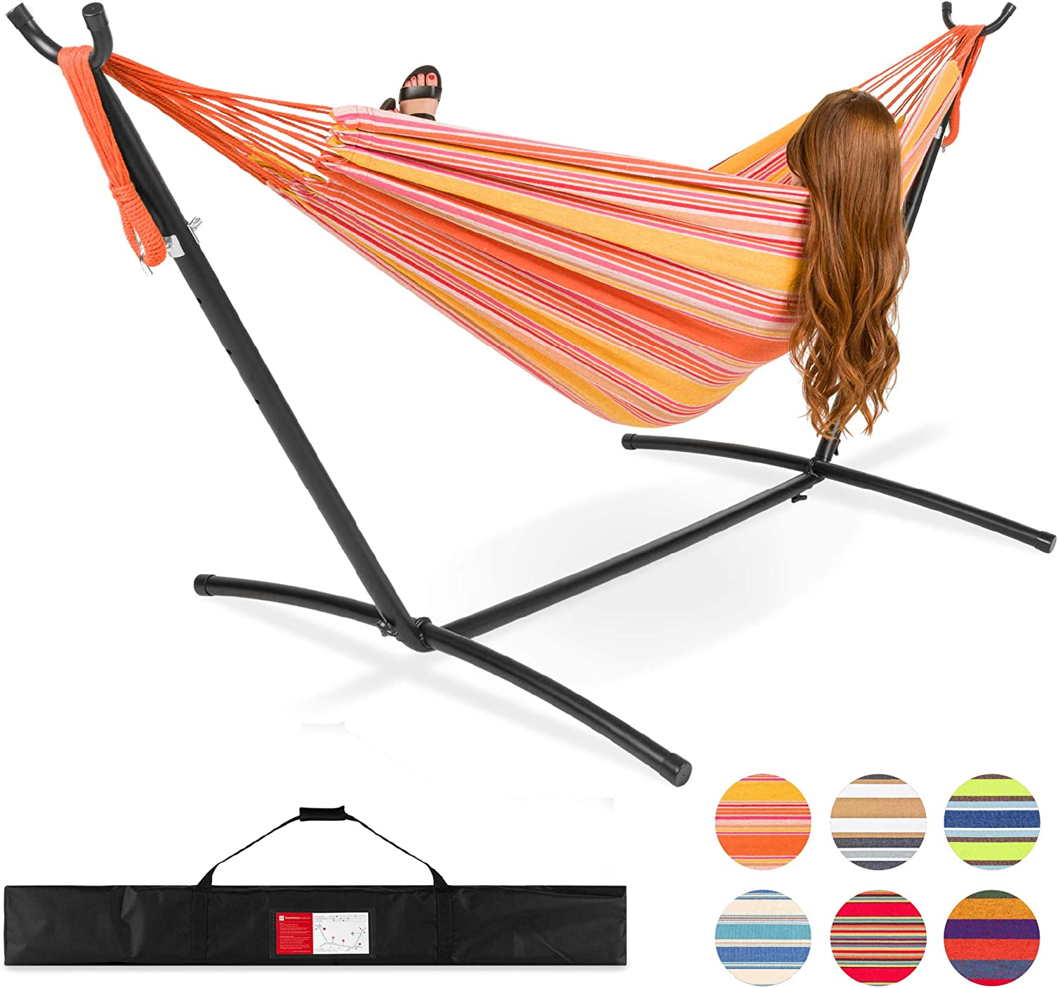 Best Choice Products 2-Person Indoor Outdoor Brazilian-Style Cotton Double Hammock Bed w/Carrying Bag, Steel Stand, Sunset