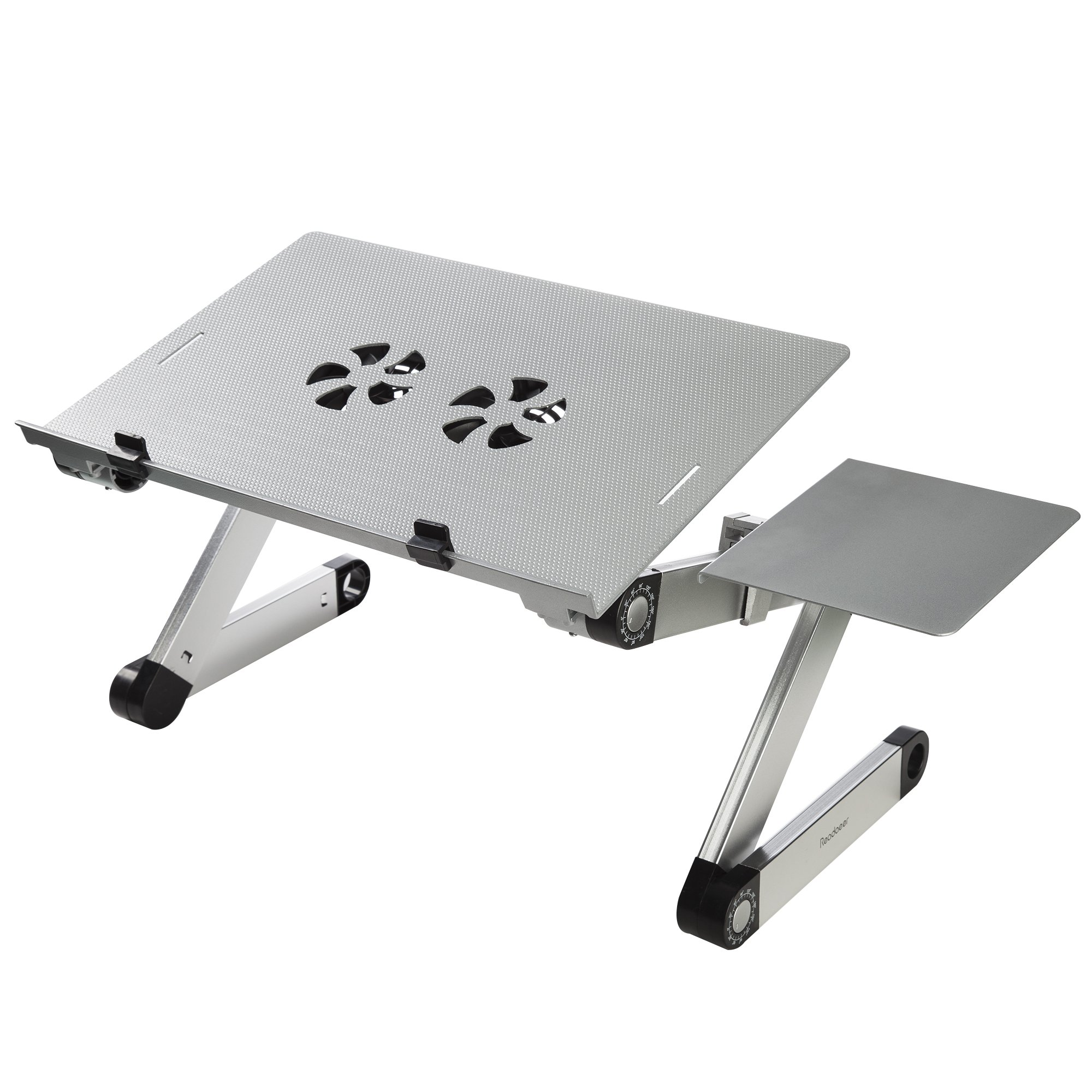 Readaeer Portable Adjustable Foldable Laptop Computer Desk Stand Table with CPU Fans Mouse Pad (Silver)