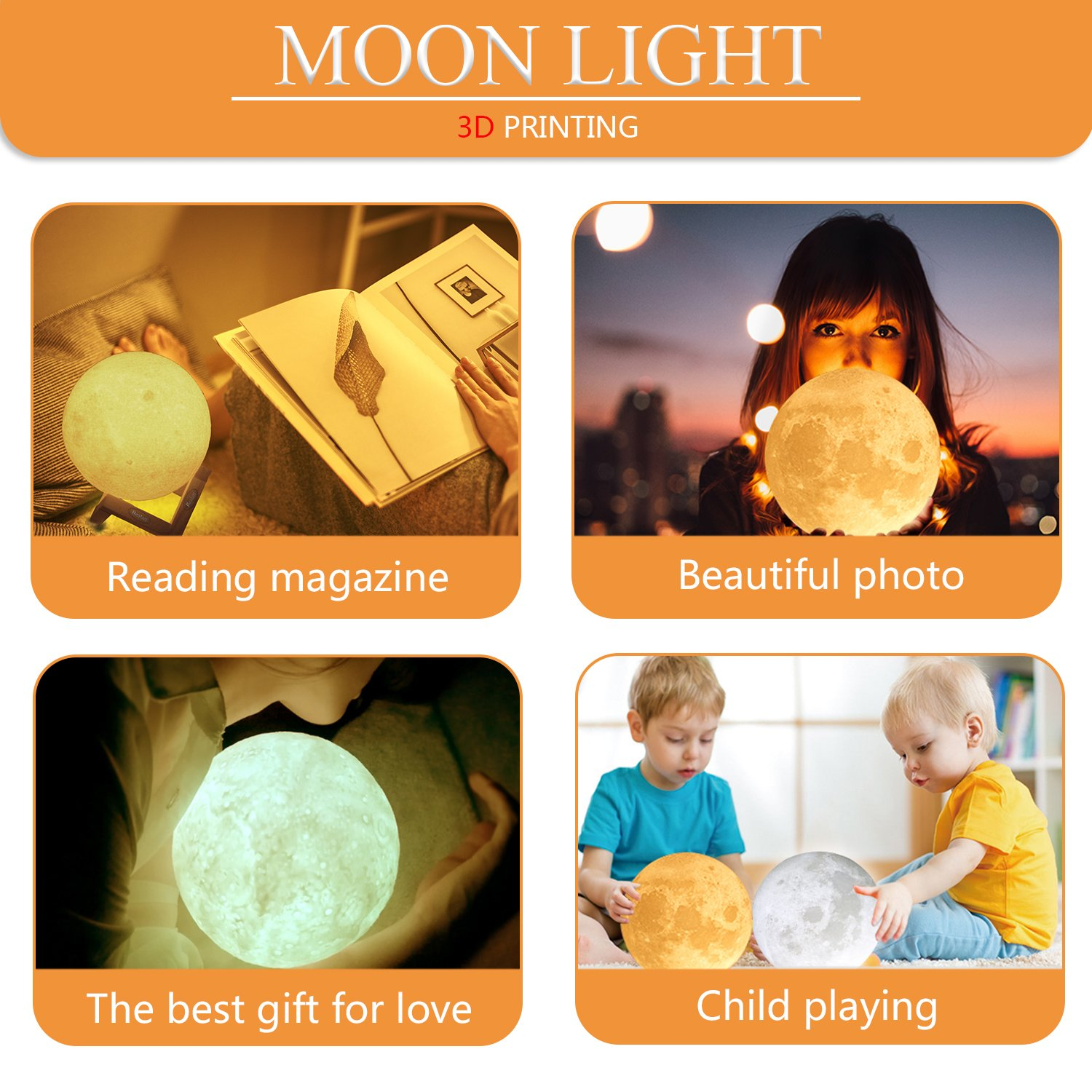 Bealatt Moon Lamp, 3D Printing Moon Light 5.9 Inch Glowing Moon Lamp Touch Control Adjustable Brightness Light Cool and Warm White, Led Night Light with Stand for Kids, Birthday, Bedside by Bealatt (Image #6)