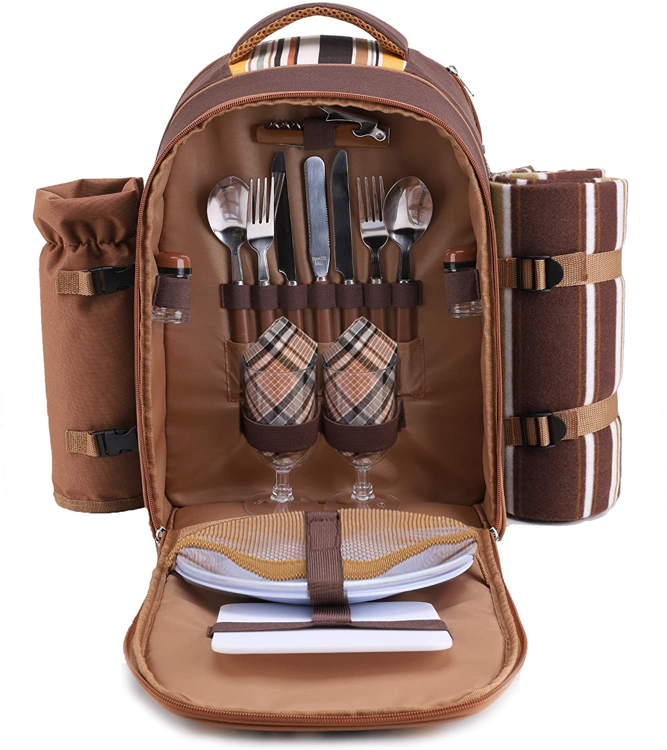 apollo walker Picnic Backpack Bag for 2 Person with Cooler Compartment, Detachable Bottle/Wine Holder, Fleece Blanket, Plates and Cutlery(2 Person, Brown)
