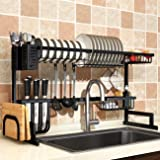 Dish Drying Rack Over Sink, Drainer Shelf for Kitchen Supplies Storage Counter Organizer Utensils Holder Stainless Steel Display- Kitchen Space Save Must Have (Black, For Sink ≤ 33.5inch)